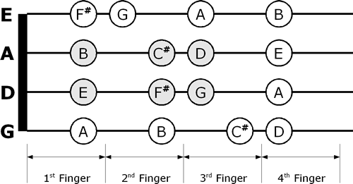 D Major violin fingering chart